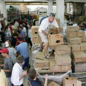 Yad Eliezer packs food donations for over 20,000 families monthly.