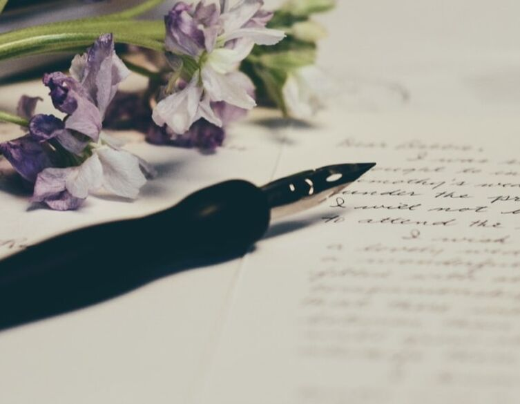 hand written note and flowers