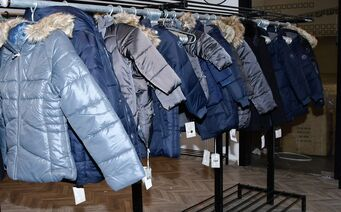 grey and blue winter coats